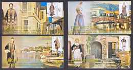 Greece 2019 EuroMed Costumes In The Mediterranean Unofficial FDC From Booklet Four Different Covers - Greece