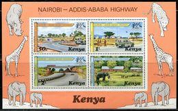 AG0230 Kenya 1977 Highway Opened For Elephant Cars, Etc. S/S MNH - Kenya (1963-...)