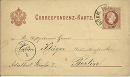 1878  Correspondenz-Karte Von Leipa (jetzt Ceska Lipa) Nach Berlin - Entiers Postaux