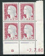 FRANCE ( COINS DATES ) : Y&T N°  1263  COIN  DATE  DU  07/07/60  TIMBRES  NEUFS  SANS  TRACE  DE  CHARNIERE . - 1960-1969
