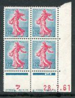 FRANCE ( COINS DATES ) : Y&T N°  1233  COIN  DATE  DU  28/07/61  TIMBRES  NEUFS  SANS  TRACE  DE  CHARNIERE . - 1960-1969