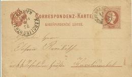 1880 Correspondenz-Karte (Böhm) Von Wischenrad (Vysehrad) Nach Karolinenthal (Karlin)  2 Akzente - Entiers Postaux