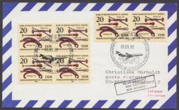 Mi-Nr. 2641, 6 Werte Als MeF Auf Luftpostkarte In Die Schweiz Mit Ankunft, 5.9.90 - DDR