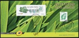 FRANCE (2011) - Carte Maximum Card - ATM LISA + Timbre - Marianne La Lettre Verte - Invitation Signée, Vente Anticipée - 2010-... Illustrated Franking Labels