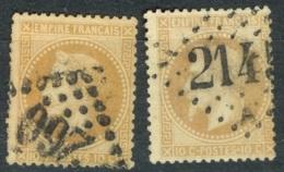 France   28A Et 28B   Ob  Voir Scan Et Description - 1863-1870 Napoleon III With Laurels