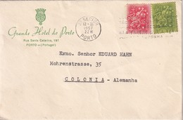 PORTUGAL 1957 LETTRE DE PORTO GRANDE HOTEL DE PORTO - 1910-... República
