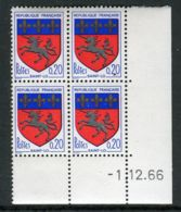 FRANCE ( COINS DATES ) : Y&T N°  1510  COIN  DATE  DU  01/12/66  TIMBRES  NEUFS  SANS  TRACE  DE  CHARNIERE . - Coins Datés