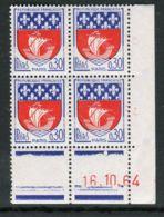FRANCE ( COINS DATES ) : Y&T N°  1354B  COIN  DATE  DU  16/10/64  TIMBRES  NEUFS  SANS  TRACE  DE  CHARNIERE . - Coins Datés