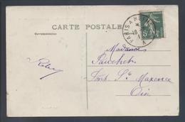 Ambulant De Nuit Paris à Reims 2° A 1911 137 Semeuse CP Crouy Sur Ourcq Château XIVe Siècle - Postmark Collection (Covers)