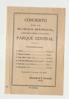GUATEMALA - CONCIERTO QUE LA MUSICA MARCIAL - PARQUE CENTRAL - PROGRAM - BERNARD DE J. CORONADO - 1929 - Tickets D'entrée
