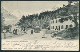 1906 Switzerland Hotel Restaurant Morteratsch Postcard. Hotel Du Glacier Cachet. Pontresina - Herisau - Storia Postale