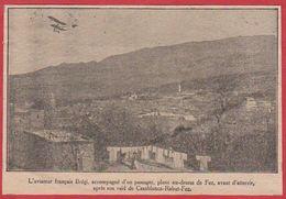 Maroc. L'aviateur Français Brégi, Plane Au Dessus De Fez, Après Un Raid De Casablanca-Rabat-Fez. 1911. - Vieux Papiers
