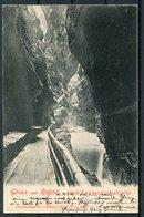 1903 Switzerland Gruss Aus Ragaz Postcard. Grand Hotel Hof Ragatz Cachet. Ragaz - Glion Montreux - Storia Postale