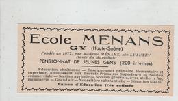 Publicité 1937  Ecole Menans Gy Pensionnat De Jeunes Gens Lyautey - Publicités