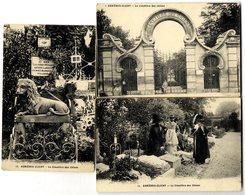 92  ASNIERES CLICHY  LE CIMETIERE DES CHIENS   -  LOT 3 CARTES ANCIENNES DONT UNE AVEC PLI - Asnieres Sur Seine