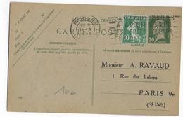 """1926 - TYPE PASTEUR - CARTE ENTIER Avec REPIQUAGE """"RAVAUD"""" De PARIS - Entiers Postaux"""