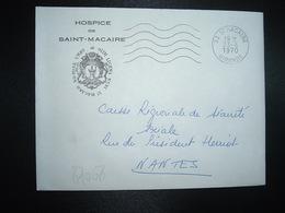 LETTRE HOSPICE DE SAINT MACAIRE OBL.MEC.23-6 1970 33 ST MACAIRE GIRONDE - Marcofilie (Brieven)