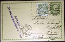 ÖSTERREICH AUSTRIA 1910: PK 5 Heller (1908) Mit Zusatz Mi 142 Mit O TRIENT 14.V.10 TRENTO Nach GAIS 15.V.10 (Schweiz) - Interi Postali
