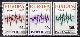 Cyprus, 1972, Europa CEPT, Stars, 3 Stamps - 1972