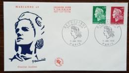 FDC 1969 - YT N°1536A, 1536B - MARIANNE DE CHEFFER / REPUBLIQUE - PARIS - FDC