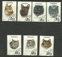 Tanzania - 1992 Cats  CTO   SG 1447-53  Sc 967a-g - Tanzania (1964-...)