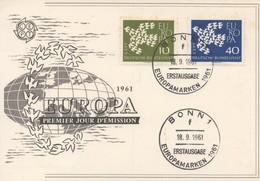 CM21  Allemagne - Carte Maximum Avec Timbres Europa 1961   TTB - 1961