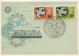 CM22  Belgique - Carte Maximum Avec Timbres Europa 1961   TTB - 1961