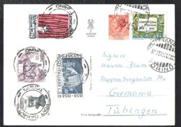 PONT CANAVESE Postcard  Veduta Generale With 6 Stamps Sent 1959 To Germany - 1946-.. Republiek