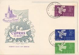 CM23  Chypre - Carte Maximum Avec Timbres Europa 1961   TTB - 1961