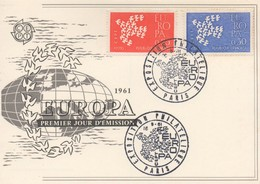 CM24  France - Carte Maximum Avec Timbres Europa 1961   TTB - 1961