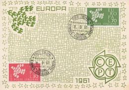 CM27  Italie - Carte Maximum Avec Timbres Europa 1961   TTB - 1961