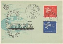 CM29  Luxembourg - Carte Maximum Avec Timbres Europa 1961   TTB - 1961