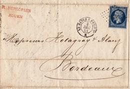 Lettre 1861 Rouen Seine Maritime Rasmus Herlofsen Vice Consul Svenk-Norsk Konsul Cachet Ambulant Le Havre à Paris - 1853-1860 Napoléon III