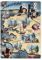 Finistère -- Carte Géographique Illustrée ,blason,coiffes ..... - France