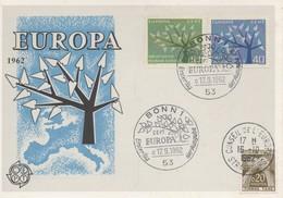 CM33  Allemagne - Carte Maximum Avec Timbres Europa 1962 En Liaison Avec Le Conseil De L'Europe  TTB - Idées Européennes