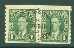 Canada: 1937/38   KGVI   SG368    1c   [Coil - Perf: Imperf X 8]    Used Pair - 1937-1952 Règne De George VI