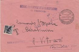 BUSTA VIAGGIATA - BRINDISI -SEZIONE PROVINCIALE DELL' ALIMENTAZIONE  - VIAGGIATA PER BRINDISI - 6. 1946-.. Repubblica