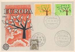 CM39  Islande - Carte Maximum Avec Timbres Europa 1962 En Liaison Avec Le Conseil De L'Europe  B - Idées Européennes