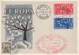 CM40  Italie - Carte Maximum Avec Timbres Europa 1962 En Liaison Avec Le Conseil De L'Europe  B - Idées Européennes