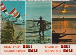 Outriggers & Fishermen, The Sanur Beach, Bali - Posted 1980s With Stamp - Indonesia