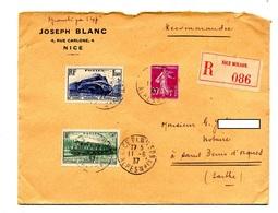 Lettre Recommandée Nice Sur Congres Chemin De Fer  Semeuse - Postmark Collection (Covers)