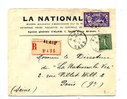 Lettre Recommandée Alais Sur Merson Semeuse - Postmark Collection (Covers)