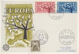 CM42  Norvège - Carte Maximum Avec Timbres Europa 1962 En Liaison Avec Le Conseil De L'Europe  TTB - Idées Européennes