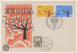 CM44  Suisse - Carte Maximum Avec Timbres Europa 1962 En Liaison Avec Le Conseil De L'Europe  TTB - Idées Européennes
