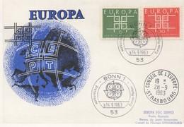 CM45  Allemagne - Carte Maximum Avec Timbres Europa 1963 En Liaison Avec Le Conseil De L'Europe  TTB - Idées Européennes