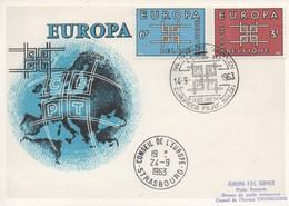 CM46  Belgique - Carte Maximum Avec Timbres Europa 1963 En Liaison Avec Le Conseil De L'Europe  TTB - Idées Européennes