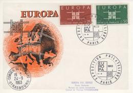 CM50  France - Carte Maximum Avec Timbres Europa 1963 En Liaison Avec Le Conseil De L'Europe  TTB - Idées Européennes