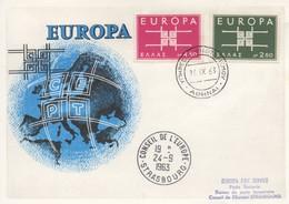 CM51  Grèce - Carte Maximum Avec Timbres Europa 1963 En Liaison Avec Le Conseil De L'Europe  TTB - Idées Européennes