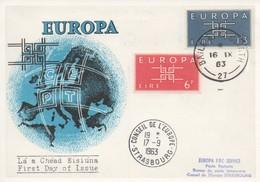 CM52  Irlande - Carte Maximum Avec Timbres Europa 1963 En Liaison Avec Le Conseil De L'Europe  TTB - Idées Européennes