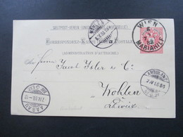 Österreich 1888 GA Weltpost Verein P 51 Stempel K1 Wien Mariahilf - In Die Schweiz. Bahnpost / Ambulant Stempel Aarau - 1850-1918 Imperium